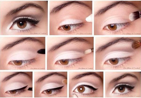 легкий <em>макияж брюнеткам карие глаза фото пошагово</em> дневной мейк для карих глаз
