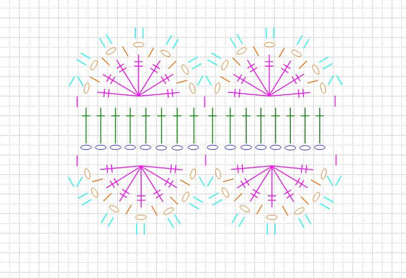 схема полоски с цветком