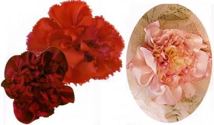 цветок пион из шелковых лент