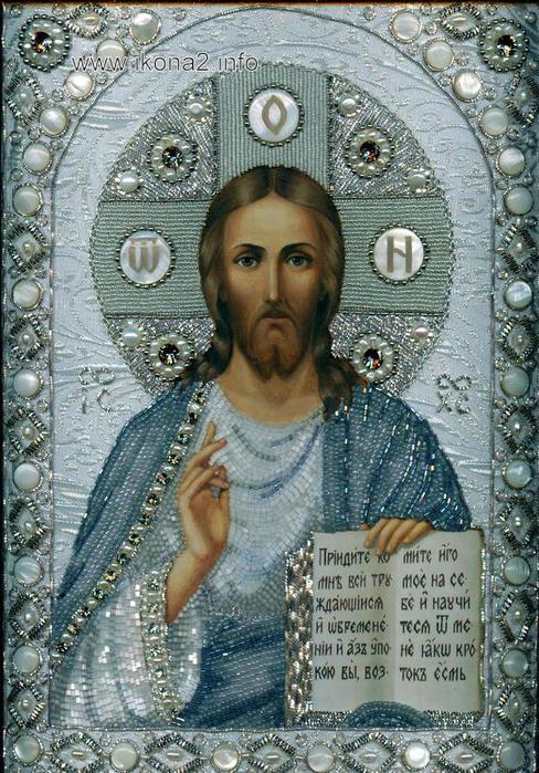 иконы бисером христос