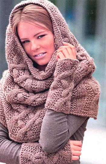 шарф хомут и митенки