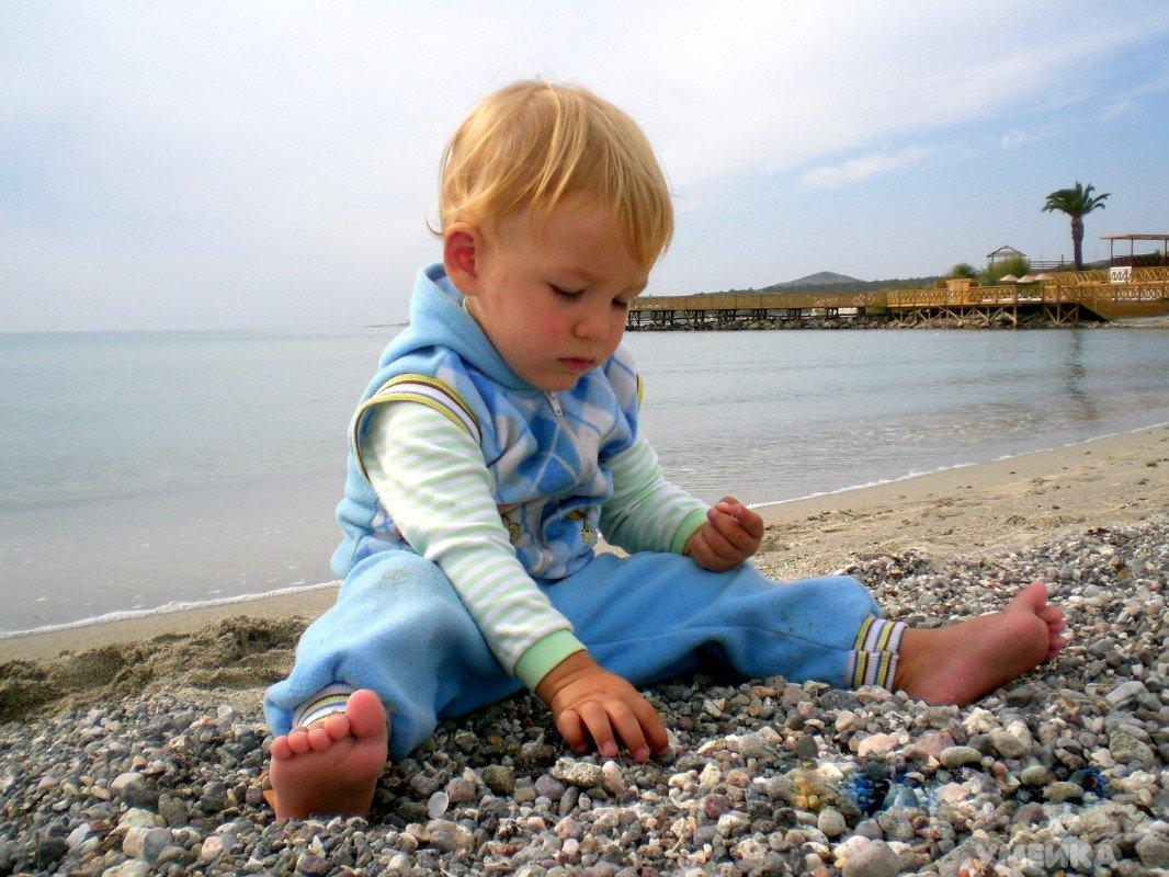 ребенок собирает ракушки