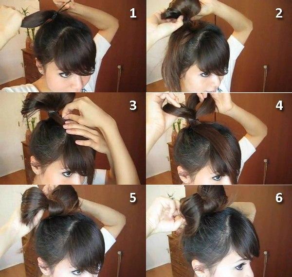 прически на средние волосы как сделать бантик
