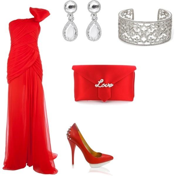 красное платье и аксессуары