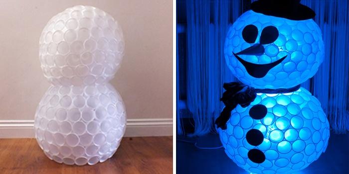 Снеговик из пластиковых стаканчиков своими руками: пошаговое изготовление