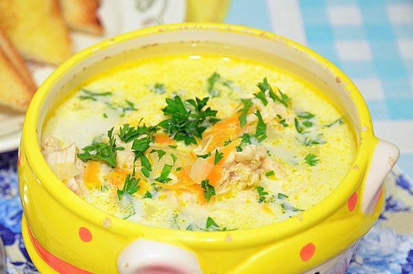 как варить сырный суп с плавленным сыром и грибами