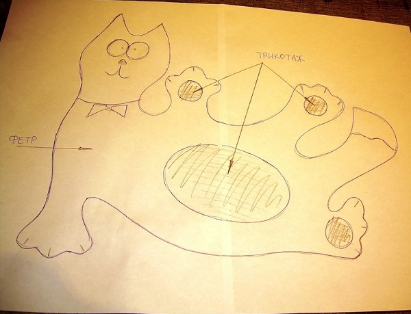 веселый кот из фетра