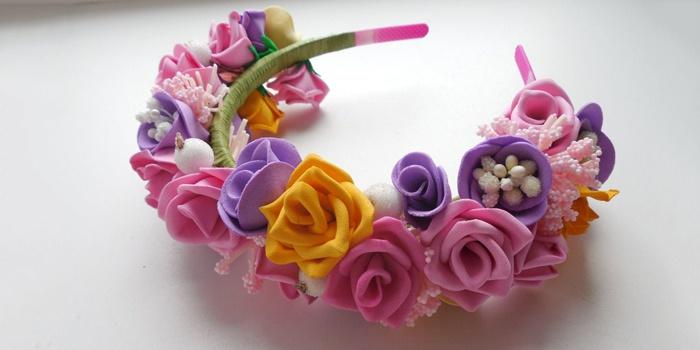 Ободок с цветами из фоамирана своими руками: мастер-класс