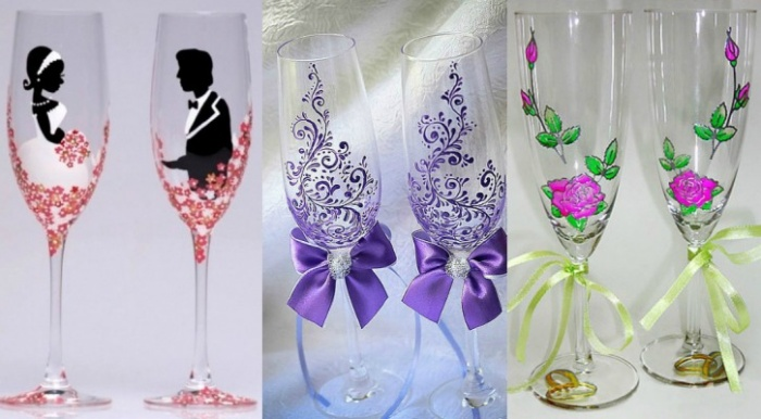 Роспись свадебного бокала своими руками