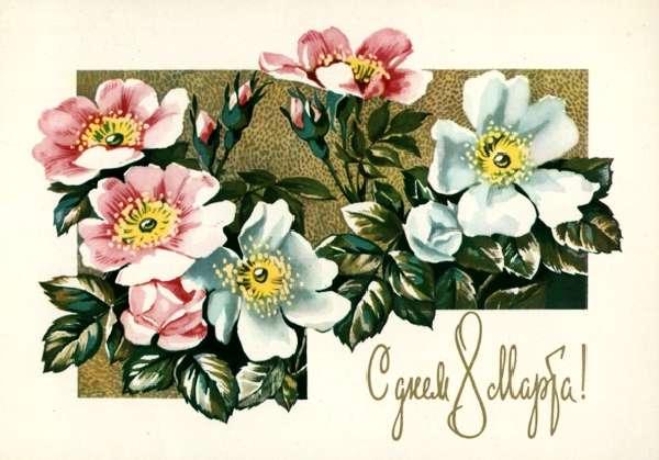 На открытках цветы ссср 44