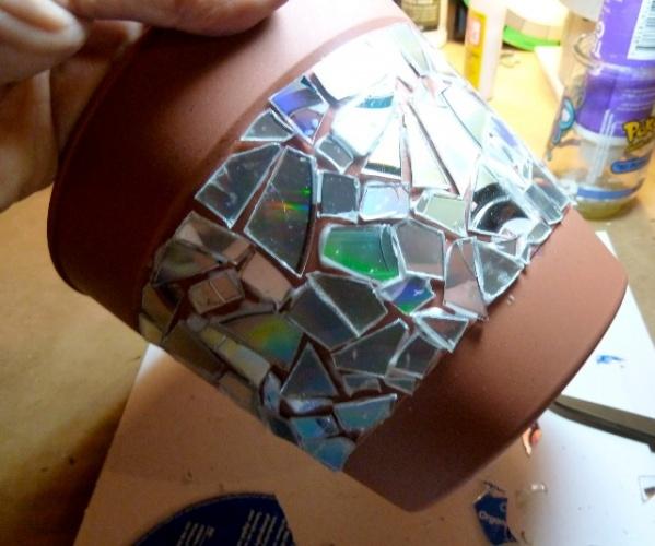 оформление горшка мозаика