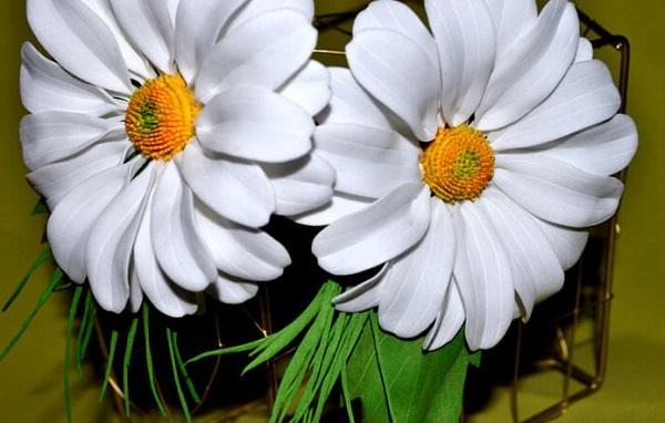 Фоамиран цветы мастер класс для начинающих ромашка
