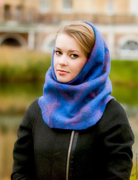 Как связать модный шарф-хомут или шарф-снуд спицами фото ...