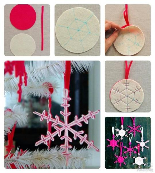 как сделать снежинку из фетра