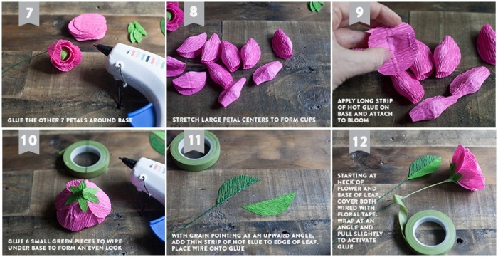 Сделать цветы из крепированной бумаги своими руками фото 66