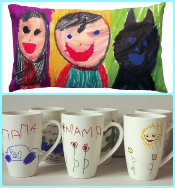 детские рисунки на кружках