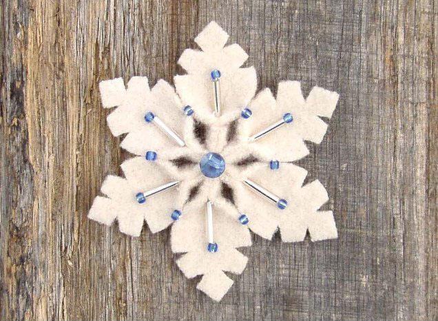 снежинка с бисером